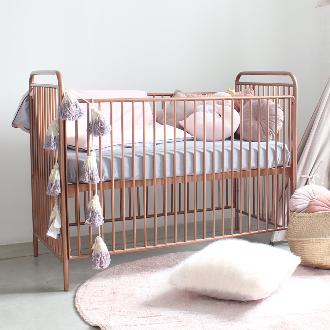 Rose gold cot in powder coated metal clever little monkey
