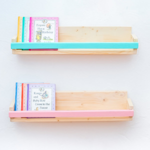 Coloured Strip Book Ledge - Aqua & Pink