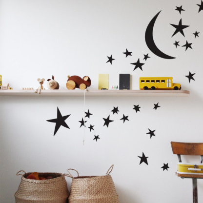 Bunni Whispy Stars Celestial Decals - Black