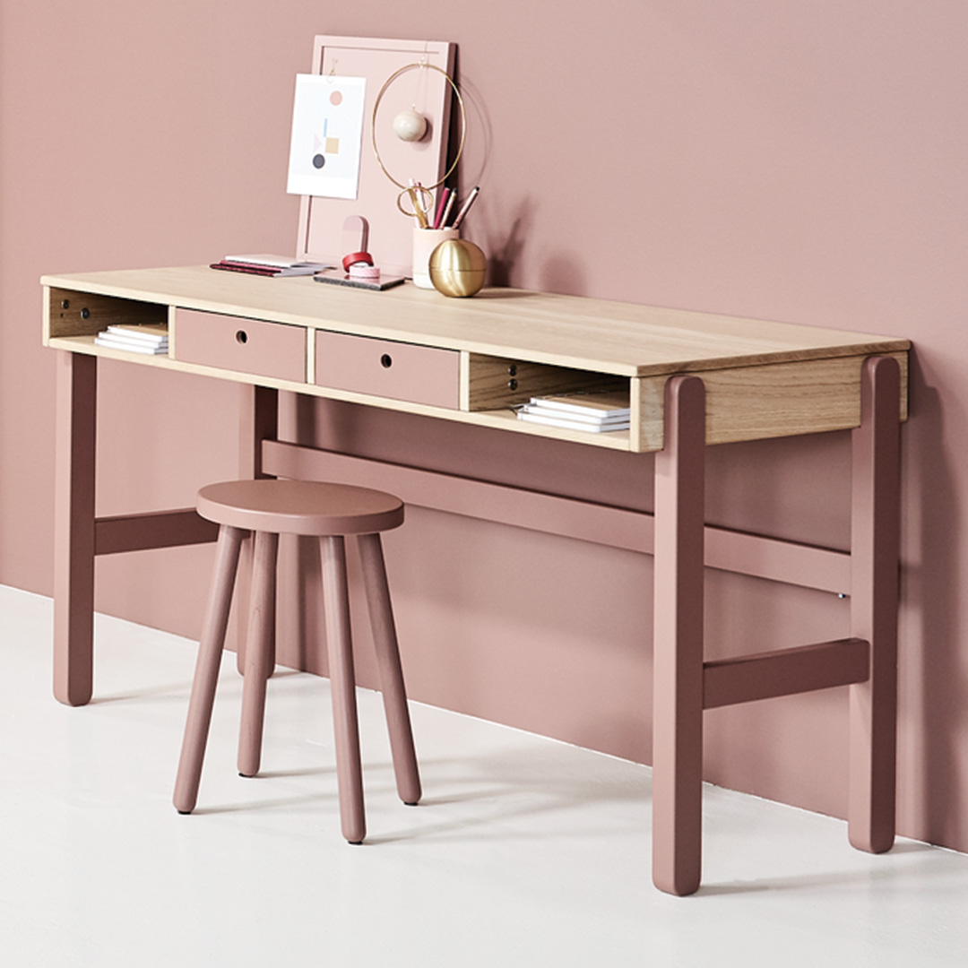 Flexa Popsicle Study Desk - Cherry with Set of Drawers