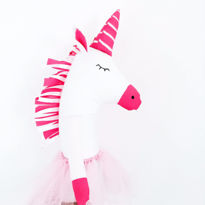 Fox & Moon Unicorn Doll - Hot Pink