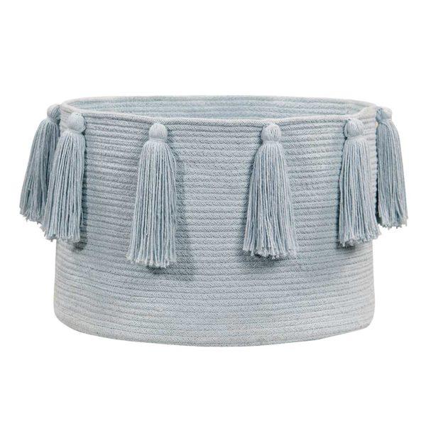 Tassel Basket - Soft Blue