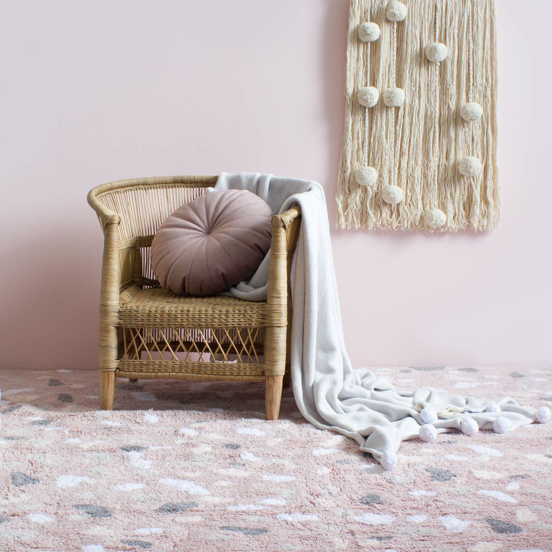 Lorena Canals Terrazzo Rug – Rose Quartz & Cotton Field Wall Hanging