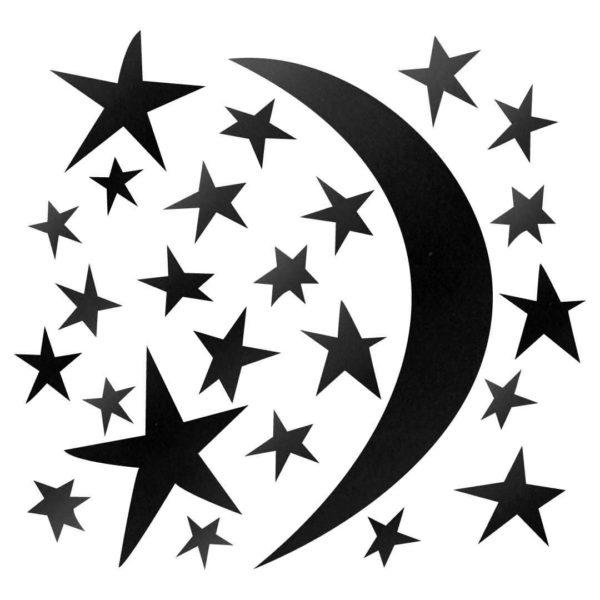 Bunni Whispy Stars Celestial Decals - Black