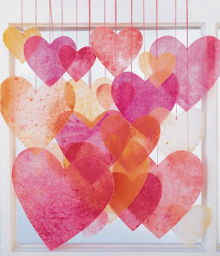 Valentines Day Activities for Kids - Crayon Heart Mobiles