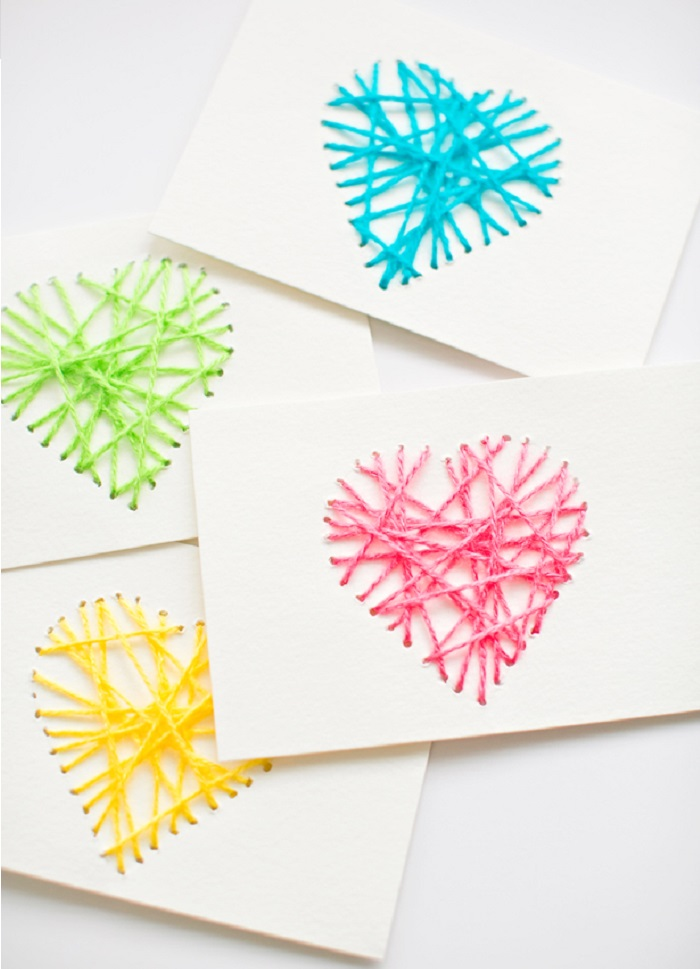 Valentines Day Activities for Kids - Yarn Heart Cards
