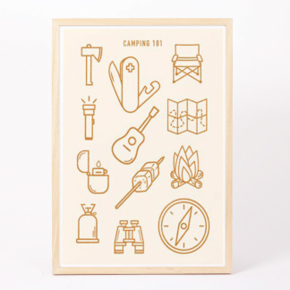 Camping 101 Art Print - Mustard - A3