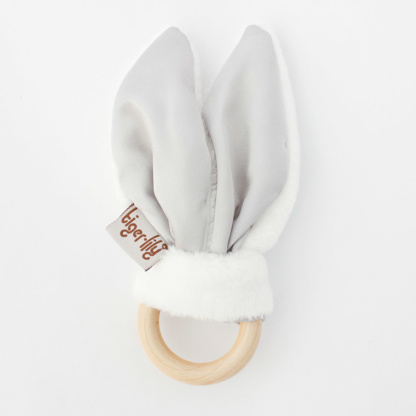 Tiger Lily Bunny Ear Teether - Silver & White