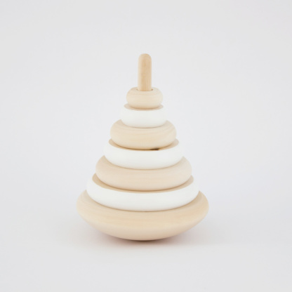 Tiger Lily Wood Ring Stacker - White
