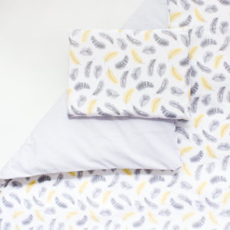 Bunni Yellow Feathers Cot Duvet Set