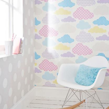 Dotty Grey & Marshmallow Clouds Wallpaper