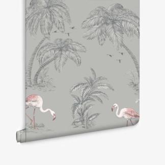 Flamingo Lake Grey Coral Wallpaper