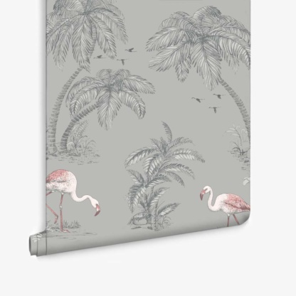 Flamingo Lake Grey Coral Wallpaper