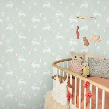 Bunny Love Wallpaper - Blue Mist