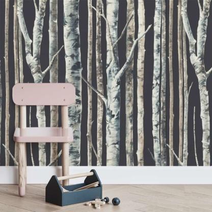 Sasi Birch Trees Wallpaper - Charcoal