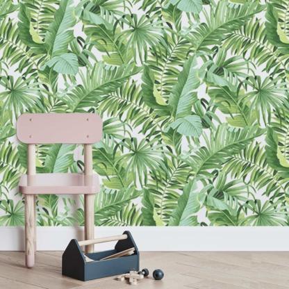Sasi Tropical Leaves Wallpaper - Green