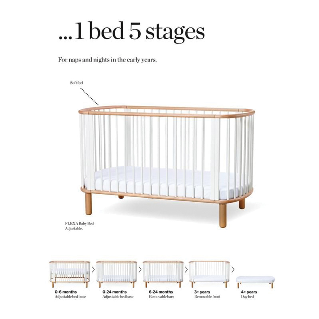 Flexa 5-in-1 Cot Bed - White & Natural