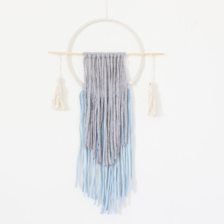 Bunni Circle T-Shirt Wall Hanging with Tassels - Grey & Blue