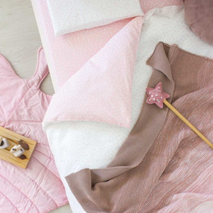 Bunni Ombre Baby Blanket - Vintage Nude Pink & Nude Pink Messy Dot Cot Set