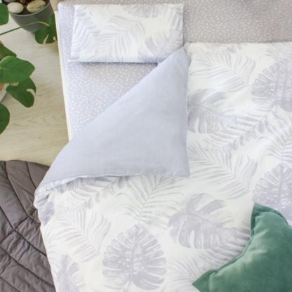 Bunni Grey Tropical Leaf Cot Set- Baby Bedding