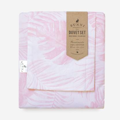 Nude Pink Tropical Leaf Duvet Set