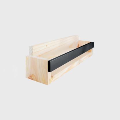Pine Book Display Ledge with Coloured Strip - Black