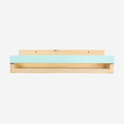 Pine Book Display Ledge with Coloured Strip - Aqua