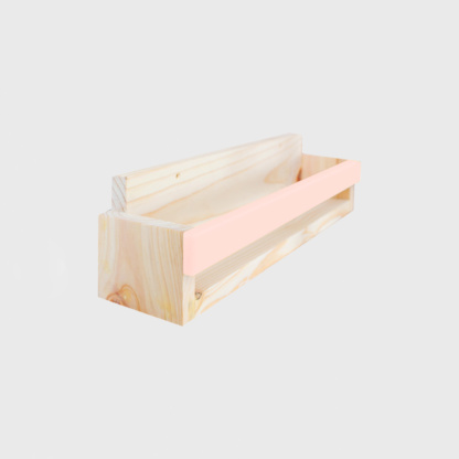 Bunni Pine Book Display Ledge with Coloured Strip - Pink