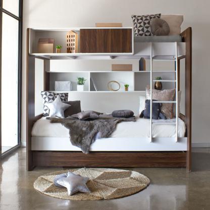 Dillon Bunk Bed - White & Walnut