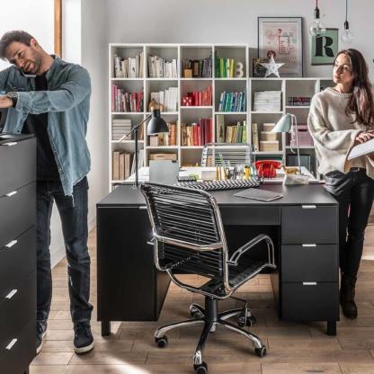 Simple Desk with Functional Slat - Black
