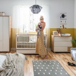 Vox Evolve Cot Bed - Oak & White & Evolve Dresser & Compactum
