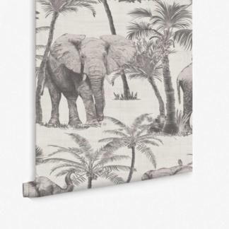 Elephant Grove Wallpaper - Grey