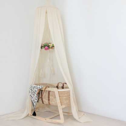 Maravi Rocking Stand with Moyo Moses Basket & Hanging Tent Canopy - Natural Ivory