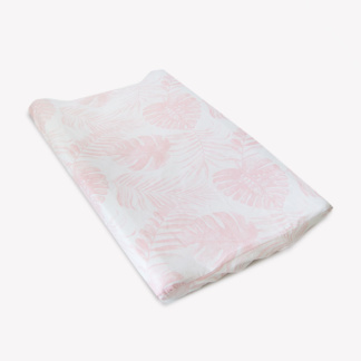 Nude Pink Tropical Leaf Change Mat Cover