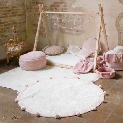 Lorena Canals Bubbly Vintage Nude Pink Rug & Lorena Canals Hippy Dots Rug - Vintage Nude Pink