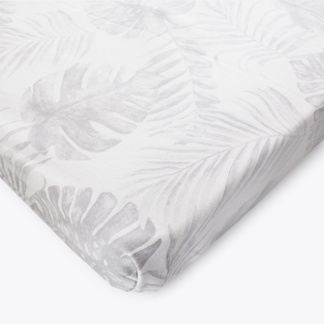 Grey Tropical Leaf Cot Fitted Sheet