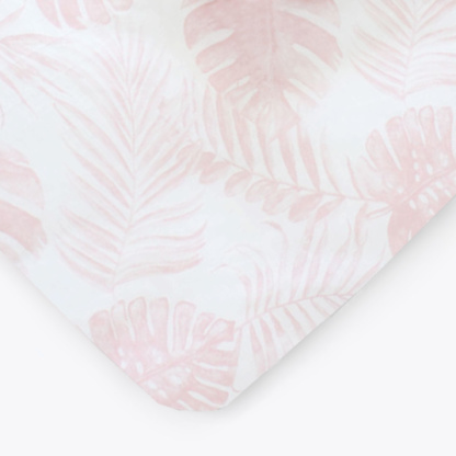 Nude Pink Tropical Leaf Cot Fitted Sheet