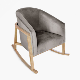 Demi Misty Grey Velvet Rocking Chair