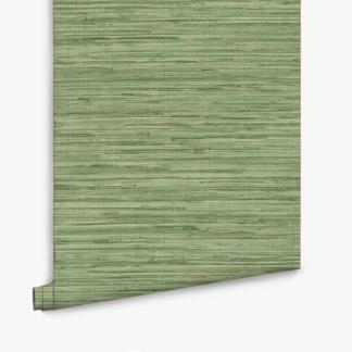 Green Faux Grasscloth Wallpaper