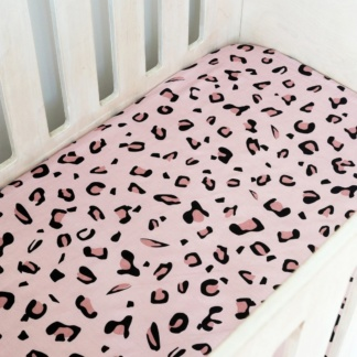 Pink Leopard Print Cot Fitted Sheet